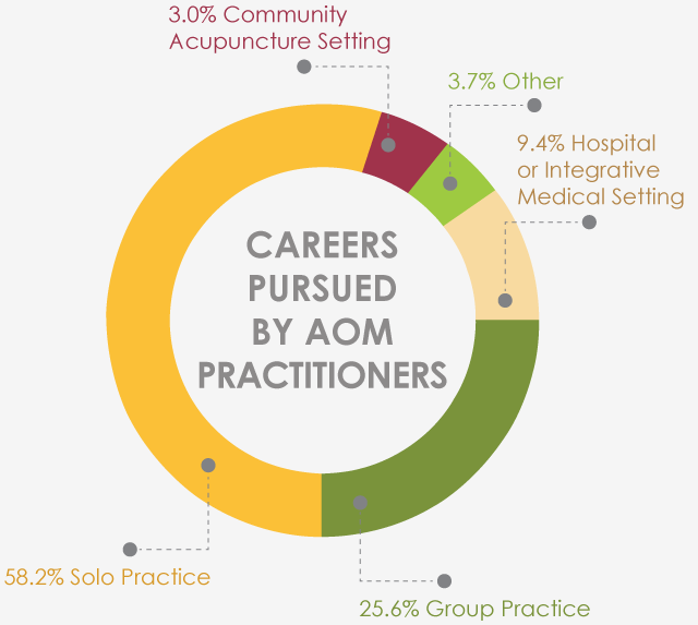 Pie Chart showing Careers Pursued by AOM Practioners