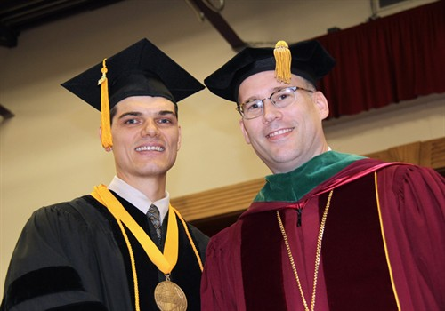 Photo of Jack Raymond Webber III with President Stiefel